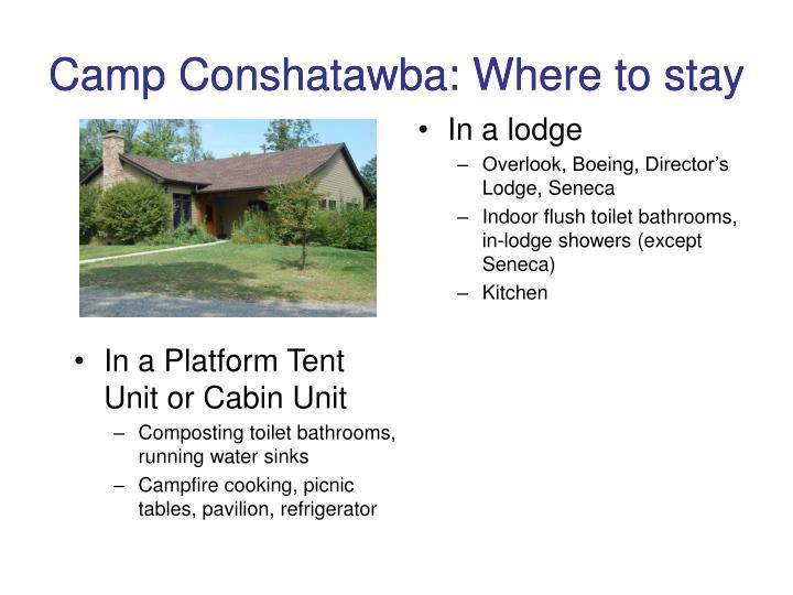 Camp Conshatawba: Where to stay
