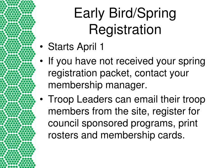 Early Bird/Spring Registration