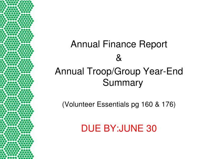 Annual Finance Report