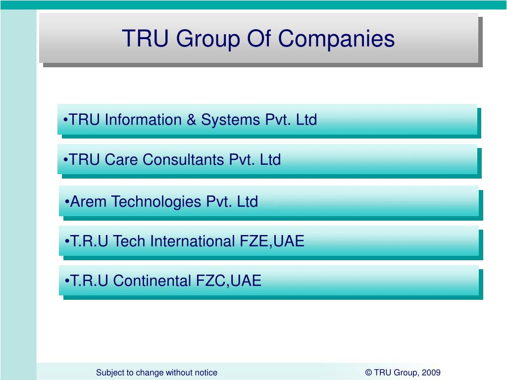 PPT - TRU Group Corporate Presentation PowerPoint Presentation - ID