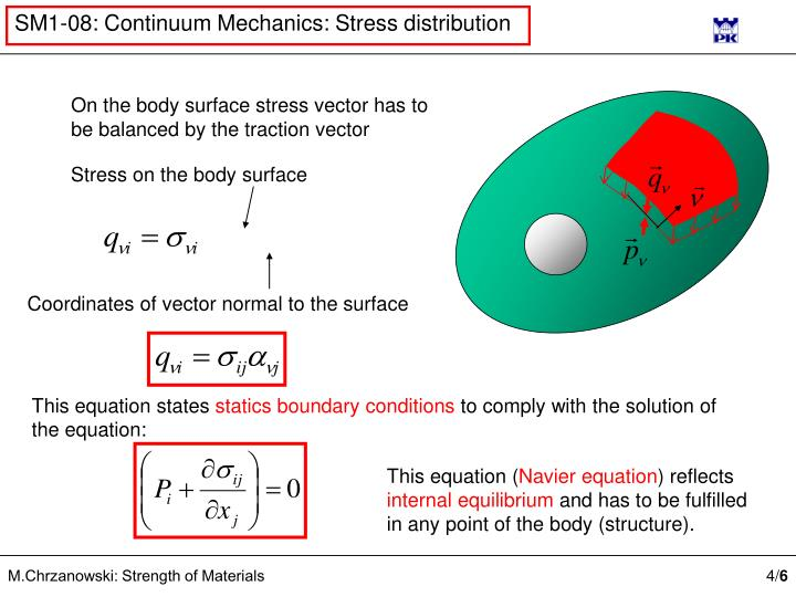 On the body surface stress vector has to be balanced by the traction vector