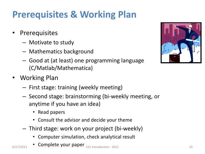 Prerequisites & Working Plan