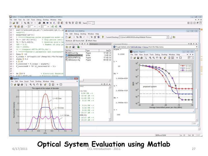 Optical System Evaluation using Matlab