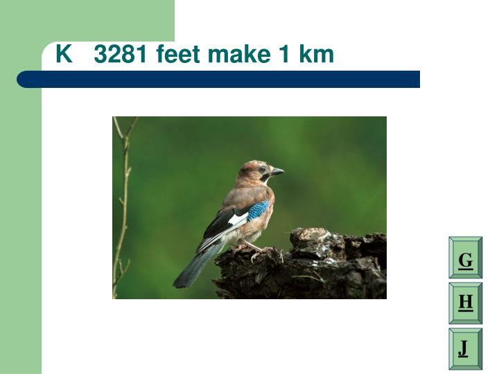 K   3281 feet make 1 km