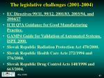 the legislative challenges 2001 2004