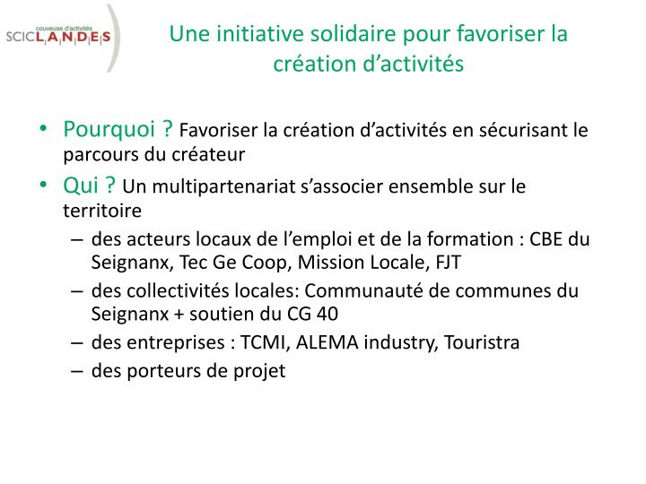 Une initiative solidaire pour favoriser la cr ation d activit s