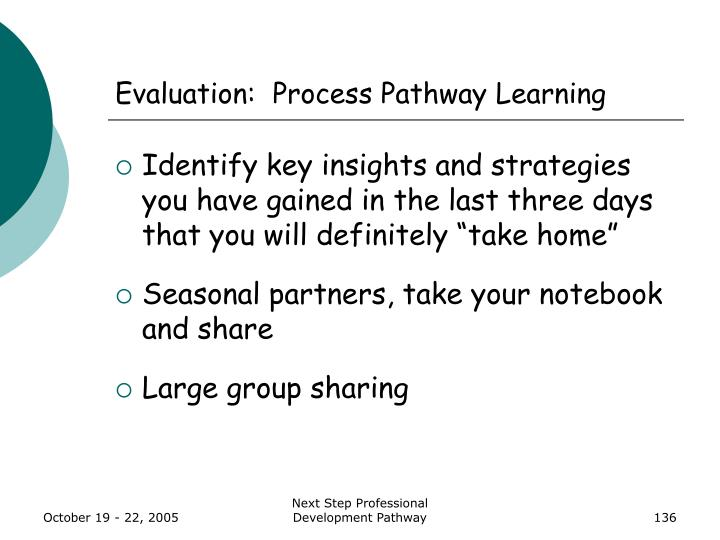 Evaluation:  Process Pathway Learning
