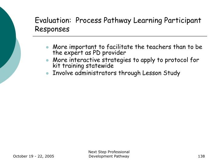 Evaluation:  Process Pathway Learning Participant Responses
