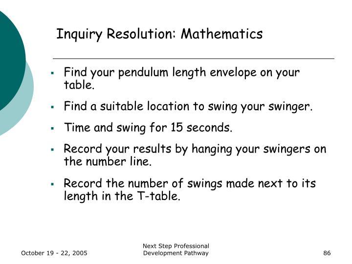 Inquiry Resolution: Mathematics