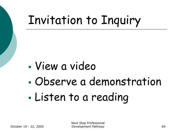 Invitation to Inquiry