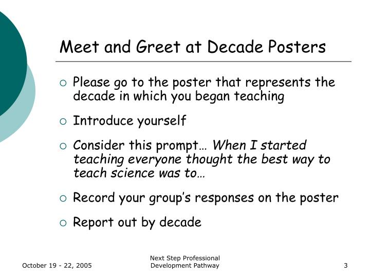 Meet and greet at decade posters