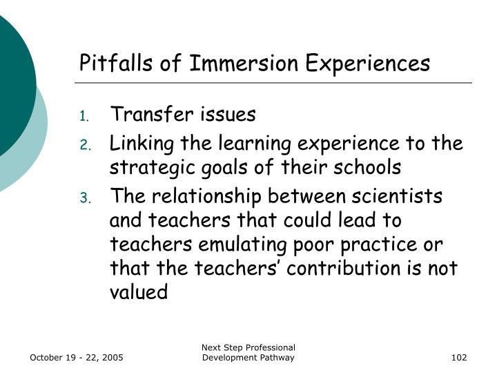 Pitfalls of Immersion Experiences