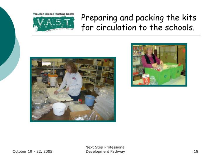 Preparing and packing the kits for circulation to the schools.