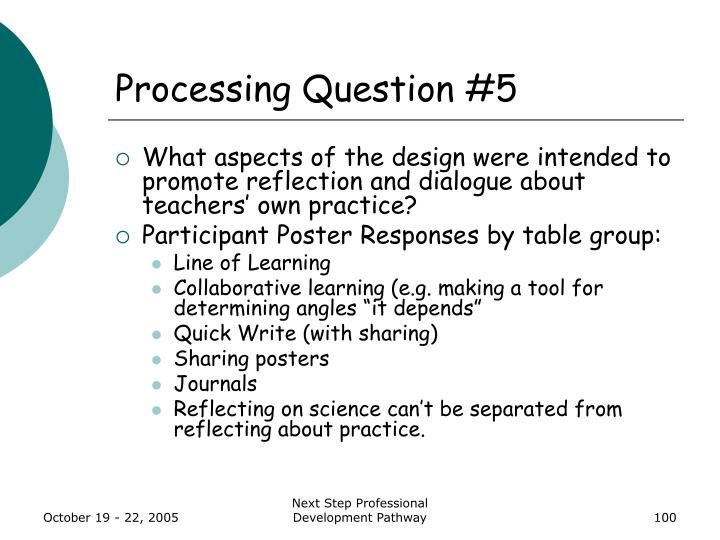 Processing Question #5