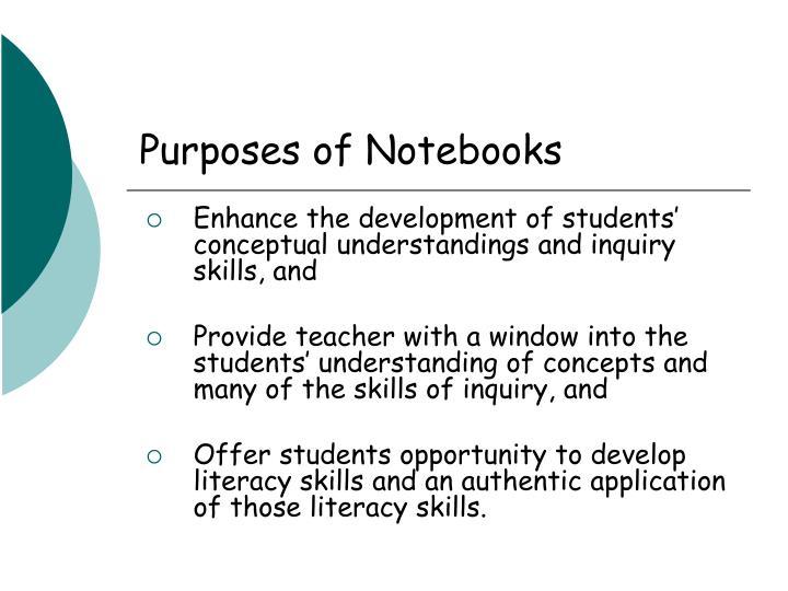 Purposes of Notebooks