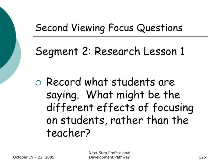 Second Viewing Focus Questions