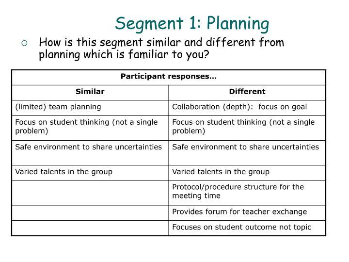 Segment 1: Planning
