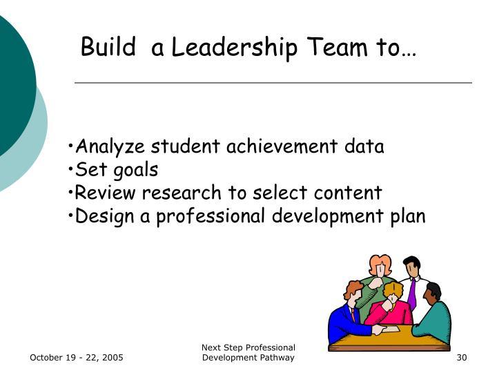 Build  a Leadership Team to…
