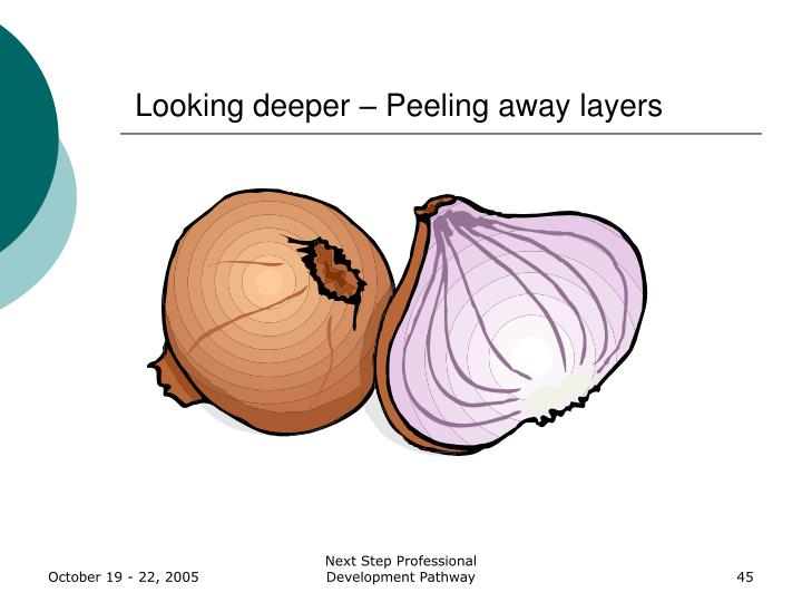 Looking deeper – Peeling away layers