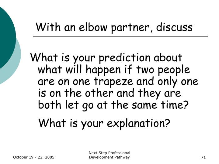 With an elbow partner, discuss