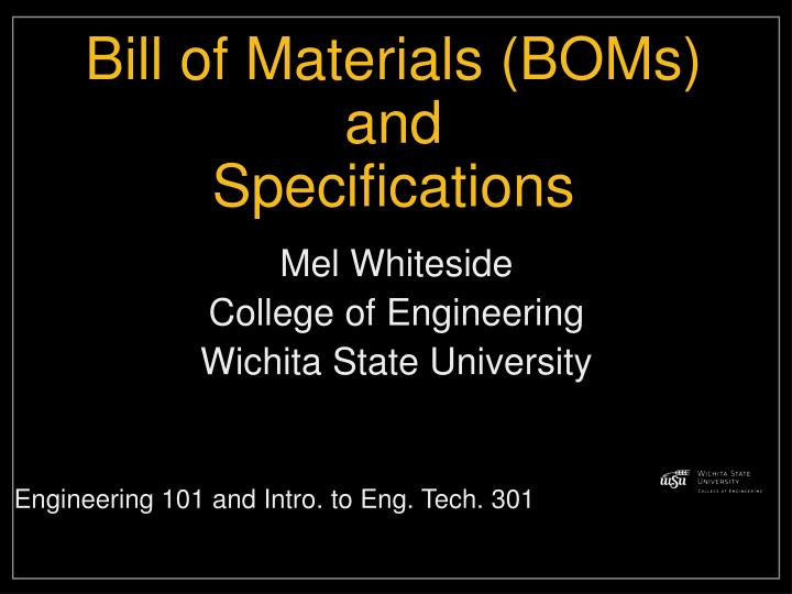 bill of materials boms and specifications n.