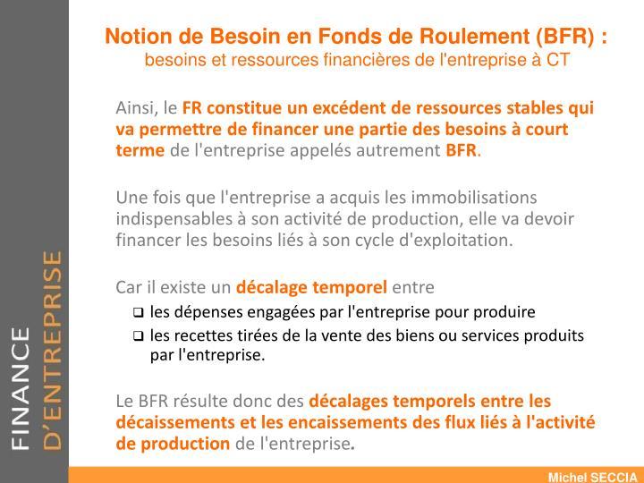 Notion de Besoin en Fonds de Roulement (BFR) :
