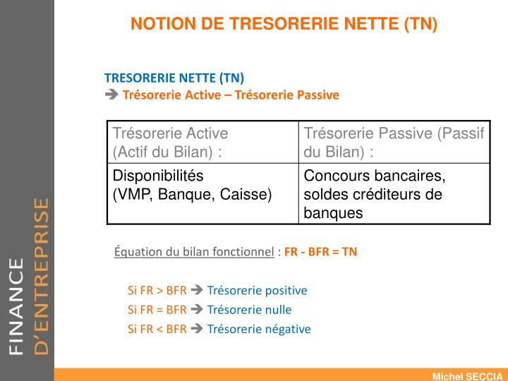 NOTION DE TRESORERIE NETTE (TN)