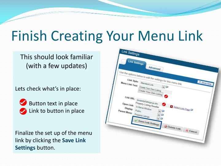 Finish Creating Your Menu Link