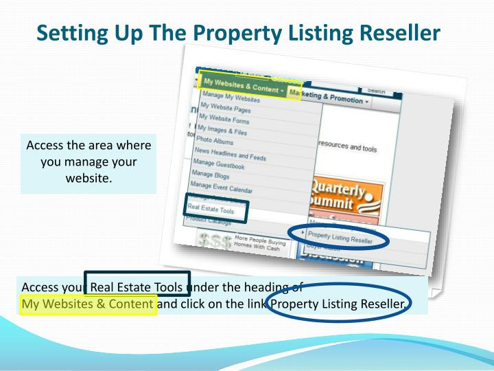 Setting Up The Property Listing Reseller