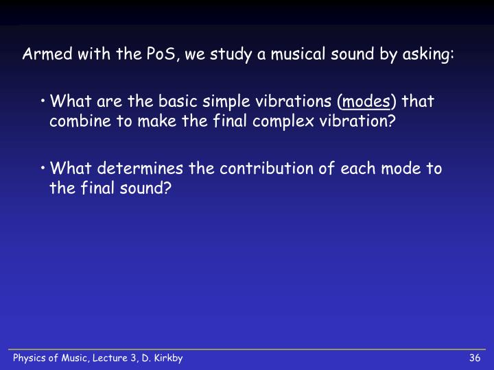 Armed with the PoS, we study a musical sound by asking: