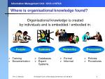 where is organisational k nowledge found