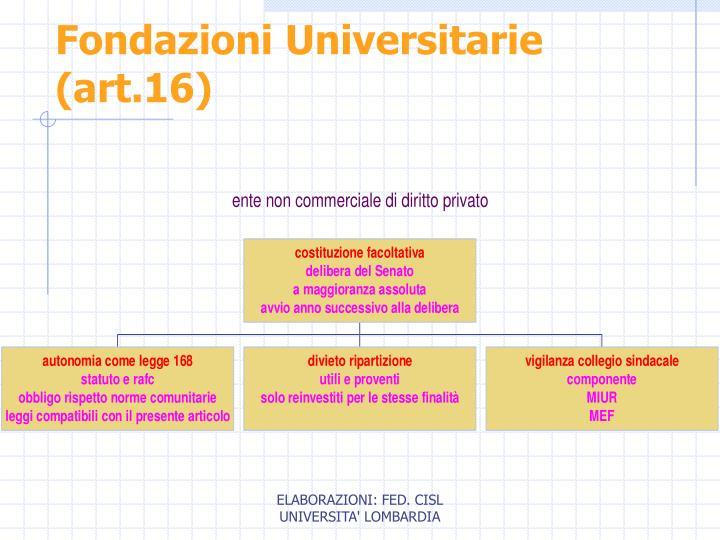 Fondazioni Universitarie (art.16)