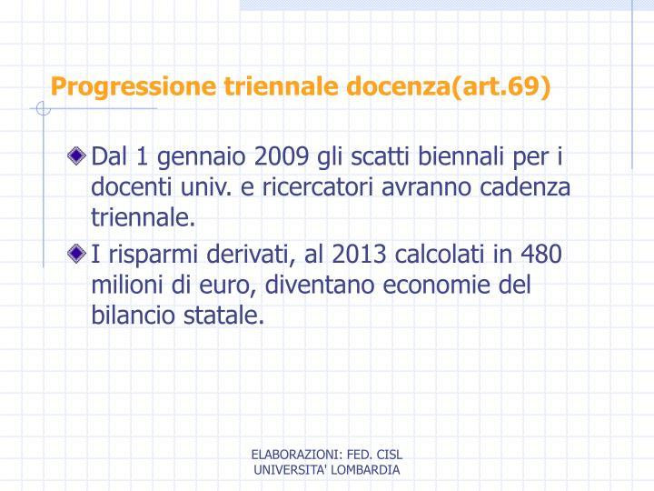 Progressione triennale docenza(art.69)