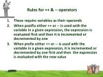 rules for operators