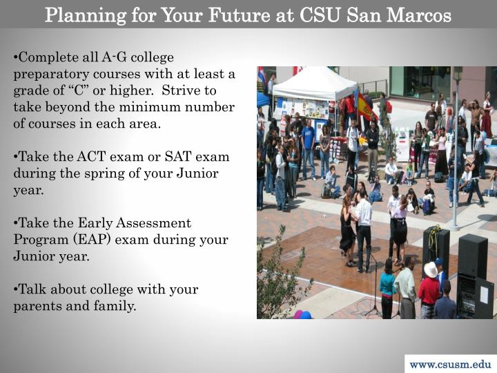 Planning for Your Future at CSU San Marcos