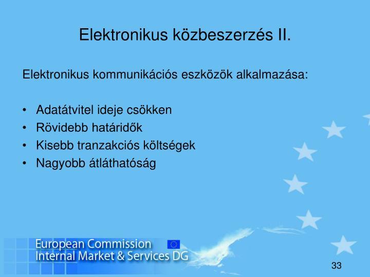 Elektronikus közbeszerzés II.