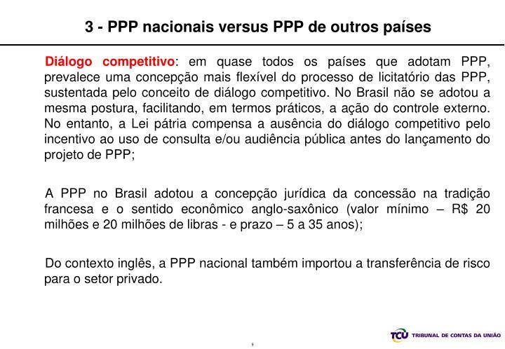 3 - PPP nacionais versus PPP de outros países