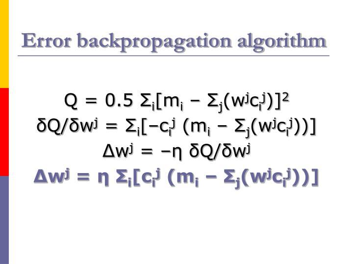 Error backpropagation algorithm