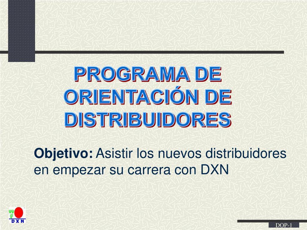 Ppt Programa De Orientación De Distribuidores Powerpoint