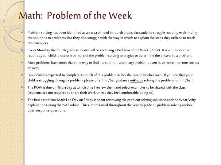 Math:  Problem of the Week