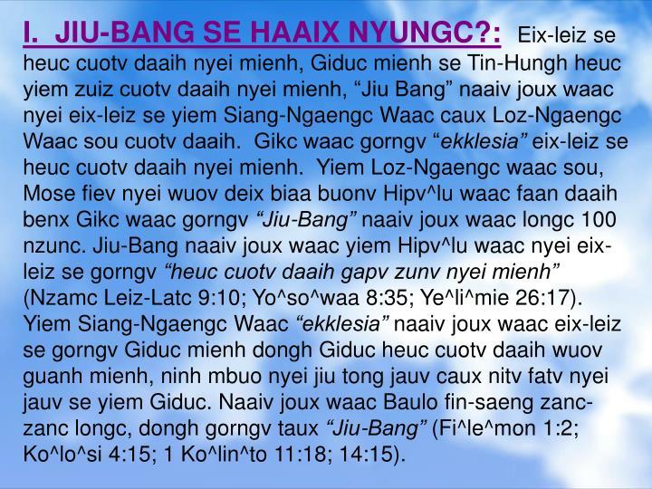 I.  JIU-BANG SE HAAIX NYUNGC?: