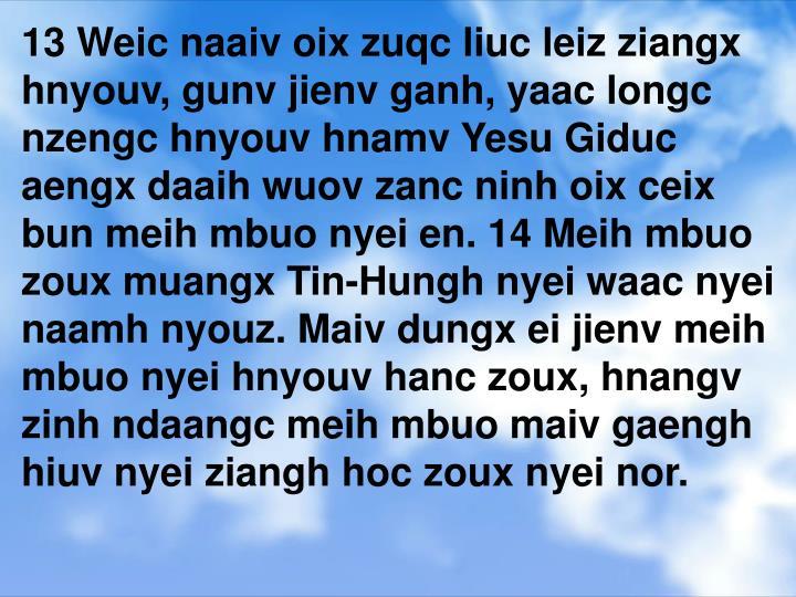 13 Weic naaiv oix zuqc liuc leiz ziangx hnyouv, gunv jienv ganh, yaac longc nzengc hnyouv hnamv Yesu...
