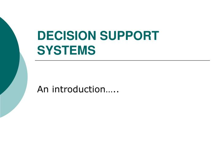 decision support systems n.