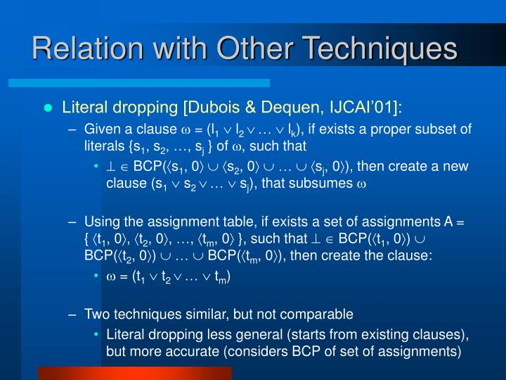 Relation with Other Techniques