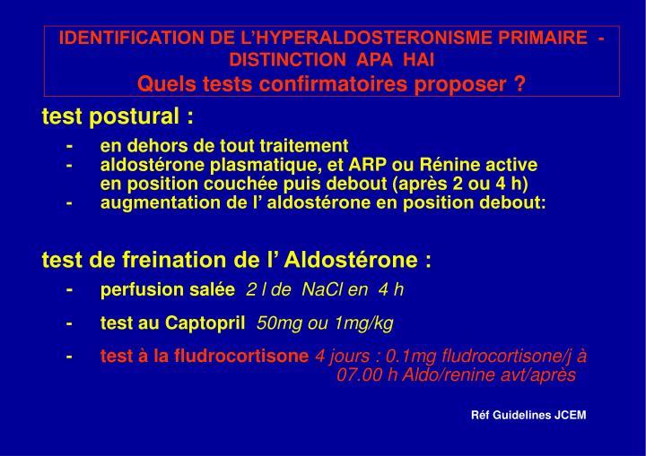 IDENTIFICATION DE L'HYPERALDOSTERONISME PRIMAIRE  - DISTINCTION  APA  HAI