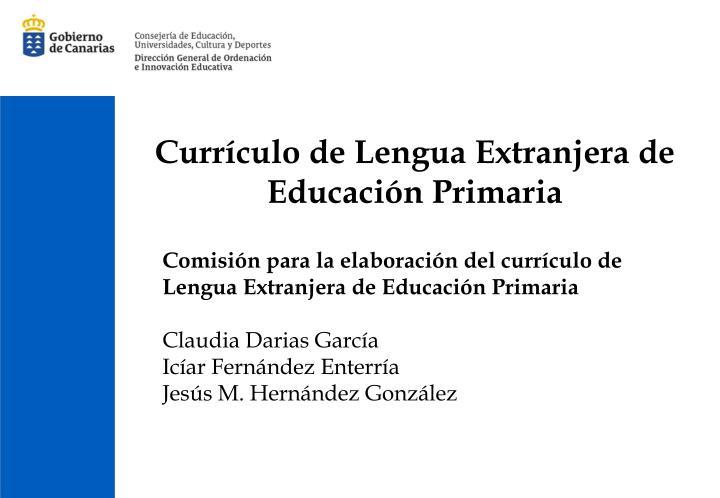 Currículo de Lengua Extranjera de Educación Primaria