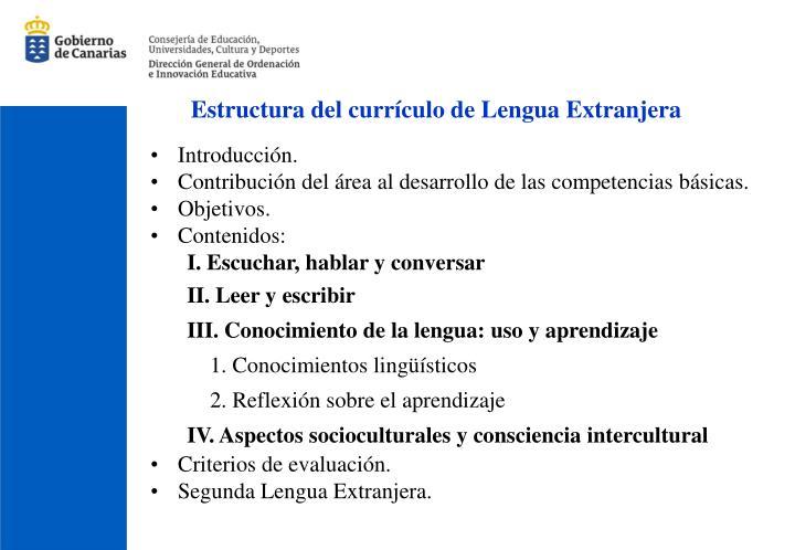 Estructura del currículo de Lengua Extranjera