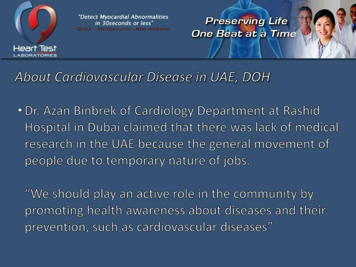 About Cardiovascular Disease in UAE, DOH