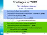 challenges for wmo