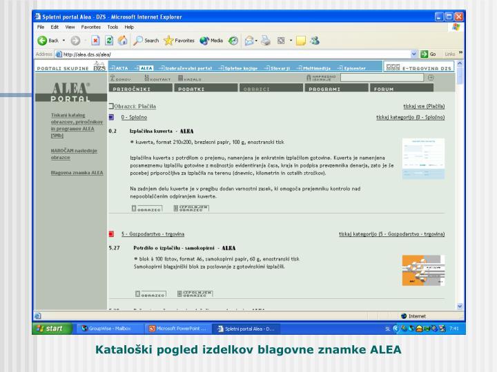 Kataloška stran ALEA področja